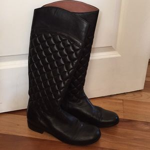 Coral Como Quilted Leather Riding Boots